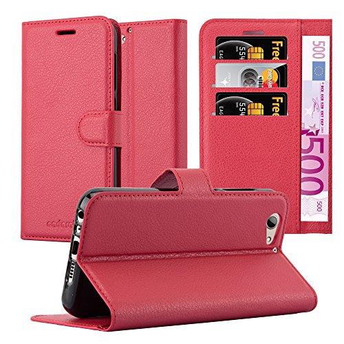 Cadorabo Hülle für HTC ONE A9S - Hülle in Karmin ROT - Handyhülle mit Kartenfach & Standfunktion - Case Cover Schutzhülle Etui Tasche Book Klapp Style
