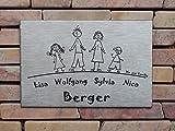 Familienschild /Namensschild / Türschild in Edelstahl gebürstet, 200x150 mm, selbstklebend oder mit zwei seitlichen Bohrungen zur Schraubmontage lieferbar