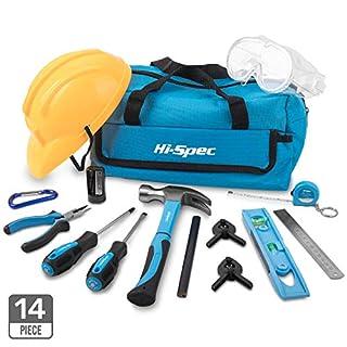 Hi-Spec 15-teiliges Kinder-Werkzeugset mit echten Handwerkzeugen, einschließlich Sicherheitbrille und Spielzeughelm – Alles in einer praktischen Aufbewahrungstasche