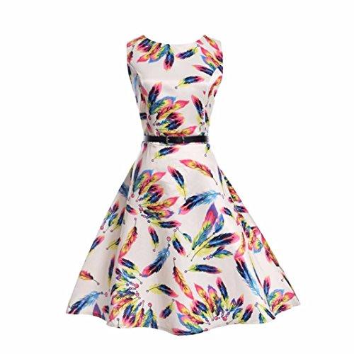 ggong Kid Kind Mädchen Feder Print Hochzeit Sommer Prinzessin Kleid Gürtel Kleidung Farbe Federdruck Kleid Rock Ankle-Length kleid Elegant (140, Weiß) (Weiße Feder Rock Kostüm)