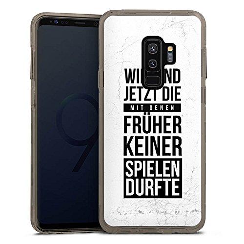 DeinDesign Samsung Galaxy S9 Plus Bumper Hülle grau transparent Bumper Case Schutzhülle Humor Fun Sayings