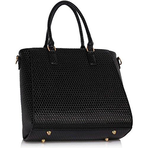 Handtaschen für Frauen-Tragetasche (Nude) Designertaschen Schultergurt Kunstleder stilvollen Damen-Pelz-Tasche B - Schwarz