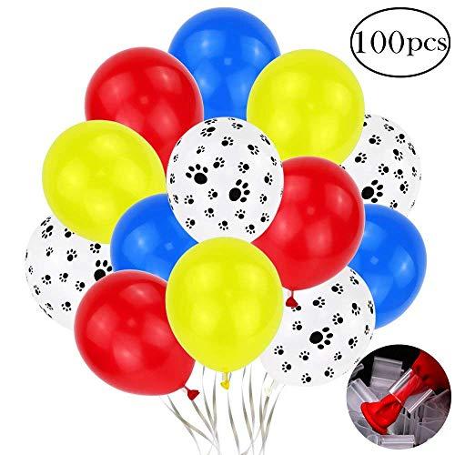 Erosion 12 Zoll 100 stücke Bunte Latex Paw Print Luftballons mit Ballon Clips für Paw Party (Rot, Gelb, Blau, Hundepfote) (Gelbe Luftballons Blaue Und)