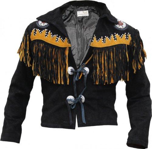 Karneval Indian Kostüm West - Westernjacke Reiter Jacke Western-Lederjacke Indianer Tracht Schwarz, Größe:58