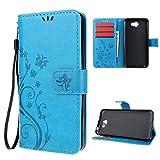 Huawei Y5 II Funda Libro Suave PU Leather Cuero impresión - Leathlux Case Con Flip case cover , Cierre Magnético,Función de Soporte , Billetera con Tapa para Tarjetas-Diseño de Mariposa y flor de la vid , Color de Azul