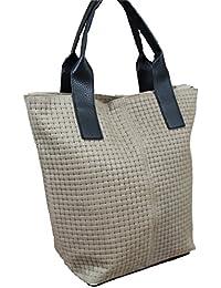 Made in italy sac à main pour femme en cuir beige hobo cube effet tressé Go9nE
