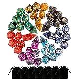 Monuary Dadi Dungeons And Dragons, 49 Pezzi D&D Dadi Poliedrici da Gioco Doppio-Colore per TRPG/DND Pathfinder con Sacchetti, 7 Set di Rpg DND MTG D4/D6/D8/D10(0-9 e 00-90)/D12/D20