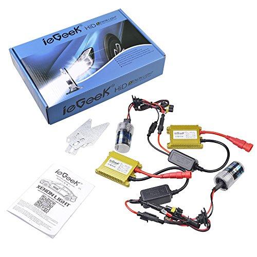 ieGeek AC 35W HID Luz Lámpara de Xenón Kit de Conversión Faro de Reemplazo con 2 Bombillas de Repuesto y 2 Lastres Finos, H7