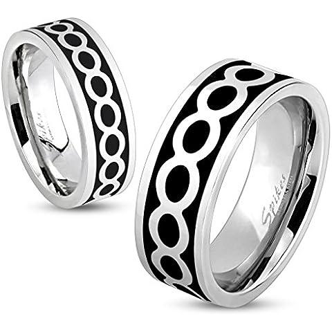 bungsa® motivo infinito anello dito in acciaio inox nero argento per uomo e donna, 49–70(anello acciaio chirurgico gioielli alla moda anello INFINITY partner anelli donne uomini)