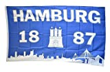 Flaggenfritze® Flagge Fanflagge Hamburg 1887 Silhouette - 90 x 150 cm