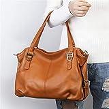 Yasla Roele Echtes Leder Handtaschen Für Frauen Rindsleder Schultertaschen Schulranzen Top-Griff Taschen, Große Kapazität, Schwarz