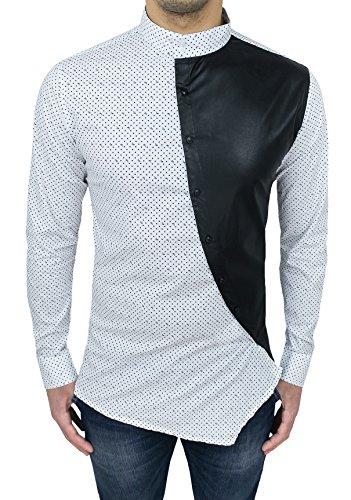 Camicia uomo slim fit bianco nero con colletto alla coreana e bottoni trasversali (l)