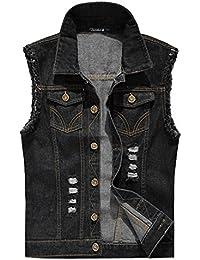 Zicac Mens Top Designed Fashion Jacket Outerwear Tops Blazer Casual Slim Fit Skinny Dress Cowboy Denim Vest Waistcoat Jean Gilets