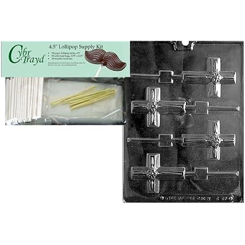 cybrtrayd 45stk50-r067piccola croce ghiacciolo con fiore Chocolate Candy Mold con alimentatore, Kit, Include 50Bastoncini per lecca lecca, 50Sacchetti e 50lacci metallizzati