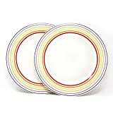 Bugatti Gioia - Dinner Plates - Set of 2 Vibrant Striped Coloured Earthenware Plates - 2 x 27 cm