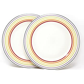 Bugatti Gioia - Dinner Plates - Set of 2 Vibrant Striped Coloured Earthenware Plates - 2  sc 1 st  Amazon UK & Bugatti Gioia - Dinner Plates - Set of 2 Vibrant Striped Coloured ...