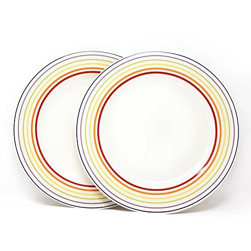Bugatti Gioia - Dinner Plates - Set of 2 Vibrant Striped Coloured Earthenware Plates - 2 x 27 cm  sc 1 st  Amazon UK & Coloured Dinner Plates: Amazon.co.uk