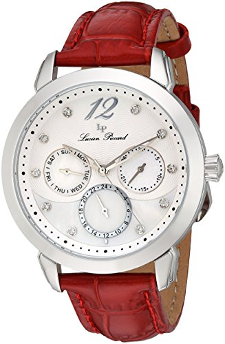 Lucien Piccard Rivage Women's Quartz Watch with Mother of Pearl Dial Analogue Display and Red Leather Strap LP-40038-02MOP-RDS