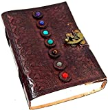 Urbankrafted Beautiful Handmade Seven Stone Leather Embossed Journal (Diary, Notebook) (15cm x 21cm)