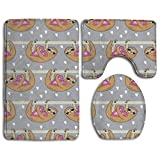 Pillowcase Wholesale Sweet Valentine's Sloth and Hearts Pattern Grey Bath Rug Sets 3 Piece for Bathroom Non Slip Bath Mat Washable Absorbency