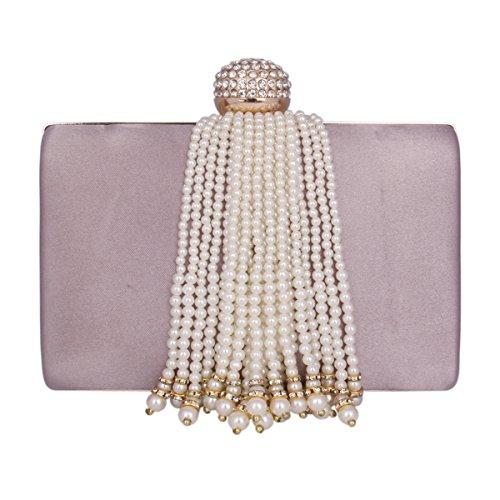 Damara® Elegant Damen Party Clutch Abendtasche Mit Künstlicher Perle Quaste Pink Lila