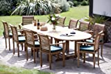 """Humber Imports """"Antibes"""" Top Grade SVLK Compliant Teak Patio Outdoor Garden Set. New 2018 Model 2.96 Metre Extension Table 10 Stacking Chairs & Cushions"""
