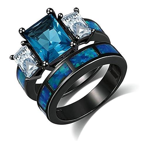 KnSam Damen-Ring Schwarz Vergoldet Prinzessschliff Eheringe Saphir Zirkonia Straß Trauringe, 2 Ringe Größe 52 (16.6)