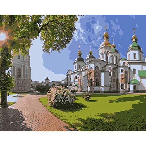 WACYDSD Kathedralenbaumsonnenmalerei Ukraine-Kiew St. Sophia Durch Zahlen Für Wohnkultur Benutzerdefiniert