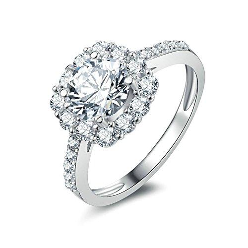 (Custom Ringe)Adisaer Ring 925 Sterling Silber Damen Runde Kreis CZ Vier Klaue Kristall Trauringe Größe 53 (16.9) Hochzeit Geschenk