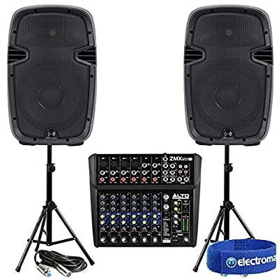 """2x Ekho RS10A 10"""" Active PA Speakers Power Home Studio Mixer Stands Cables 800w from Electromarket"""