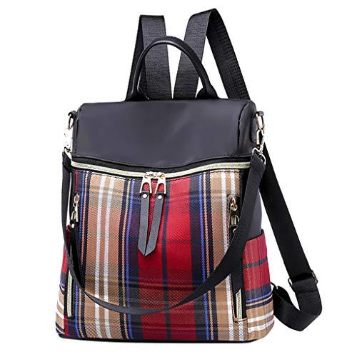 Anti Diebstahl Damen Rucksack Handtasche, Wasserdichte Nylon Schultaschen, Oxford Umhängetasche Multifunktions Schultaschen, Tagesrucksack Daypacks Schultertasche Umhängentasche Tasche (Rot) -