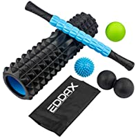 Massage Ball Foam Roller Kit – 5 in 1 Deep Tissue Physical Therapy Muscle Massager Tools Set for Plantar Fasciitis Heel Pain, Sore Muscles, Trigger Point, Myofascial Release, Heel Spur + Carry Bag
