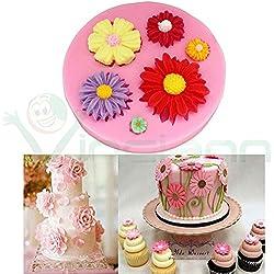 Molde silicona margaritas 3d decoración flores torta pasta Azúcar Cake Design