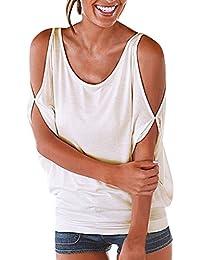 LAEMILIA Femmes T-Shirt Eté Casual Manches Courtes Epaule Nue Lâche Uni Basique Tunique Chemise Blouse Tee Shirt