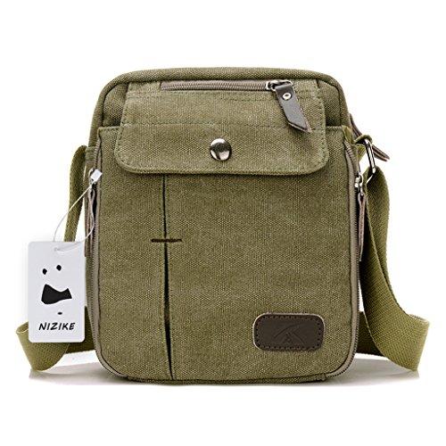 Leinwand Messenger Bag Umhängetasche aus Segeltuch Tasche Umhängetasche für Männer Armygrün