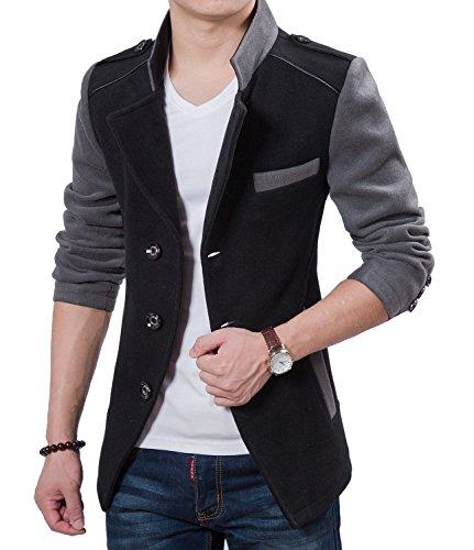Brinny Veste automne Trench Loisirs blouson Hommes Blazer Slim Fit Suit Noir