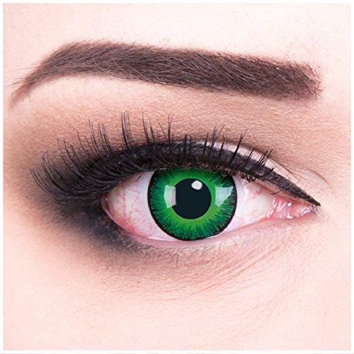 Funnylens 1 Paar farbige grüne Crazy Fun Shining Jahres Kontaktlinsen Perfekt zu Halloween, Karneval, Fasching oder Fasnacht mit gratis Kontaktlinsenbehälter ohne Stärke!