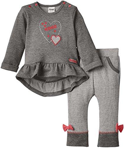 Dirkje Baby - Mädchen, Unterwäsche-Set, 2-pce babysuit, Grau (gr.mêlée/dark Grey/bright Pink), 12 Monate (Herstellergröße: 80) - 2pce Set