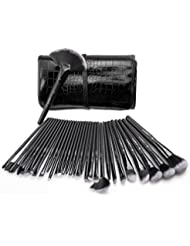 USpicy US-MB03 Makeup Brushes Cosmetics Professional Essential 32-Piece Make Up Brush Set Kits with Travel Pouch(Black)