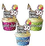vorgeschnittenen Dinosaurier Party Mottoparty–30. Geburtstag–Essbare Cupcake Topper/Kuchen Dekorationen (12Stück)