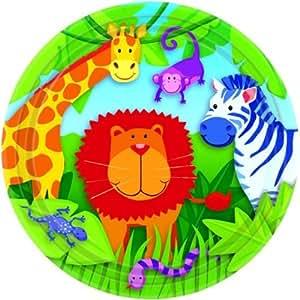 8 assiettes en Papier Motif animaux de la Jungle (lot de 8)