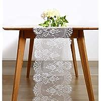 BITFLY 35cm x 300cm Chemin de Table en Dentelle Blanche, Ceinture de Chaise, Décoration de Table de Mariage, Décorations de Fête