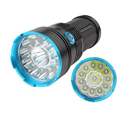 lampe torche led puissante 10000 lumens Tactique Ultra Puissante Militaire Torches Lampe de Poche 12 x XM-L T6 LED de étanche avec 3 modes pour randonnée camping(Batterie non incluse)