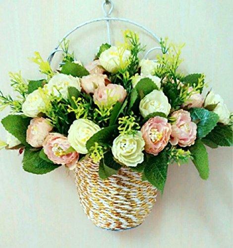 Emulation rose fiore a parete per il montaggio a parete di ferro di orchidee cesti floreali fiore salone di filatura della seta,