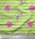 Soimoi Grun Baumwolle Ente Stoff Striping & Rose Bouquet