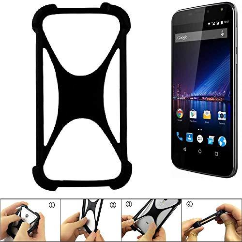 K-S-Trade Handyhülle für Phicomm Energy 3+ Schutz Hülle Silikon Bumper Cover Case Silikoncase TPU Softcase Schutzhülle Smartphone Stoßschutz, schwarz (1x)