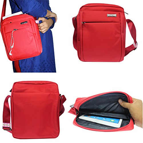 DMG CoolBell CrossBody Sling Bag Carrying Case with Accessory Pockets for Samsung Galaxy Tab S SM-T805 Tablet (Red)  available at amazon for Rs.799