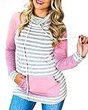 Tomwell Donna Casual Striscia Felpa con Cappuccio Maniche Lunghe Alta Colletto Sweatshirt Hoodies Pullover Cappotto con Tasca Rosa IT 38