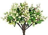 FiveSeasonStuff 10 Vorbauten von Real Touch Künstliche Rosa und Weiße Beeren Blumen für Hochzeit Restaurant Dekoration DIY Blumenarrangement (25 cm/9,8 Zoll)