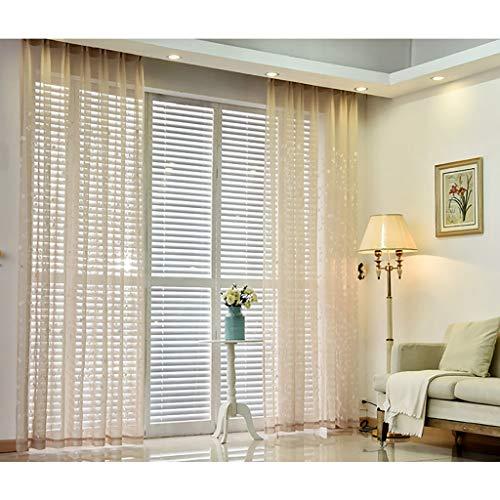 2 Panels Faux Leinen texturierte Schiere Voile Vorhänge, Rebe Stickerei Vorhänge, Tülle Vorhänge Vorhänge für Wohnzimmer Fenster Behandlung, 106